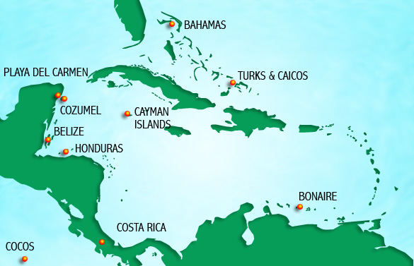 Caribbean Scuba Diving Destinations Caribbean Scuba Travel Adventures – Mexico Travel Destinations Map