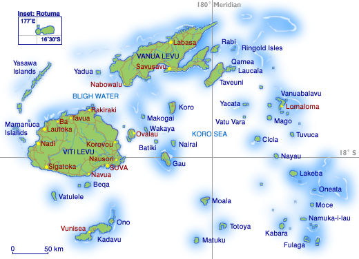 Map of the Fijian Islands