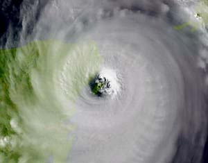 Eye of Hurricane Wilma directly over Cozumel Island. Photo courtesy of NOAA