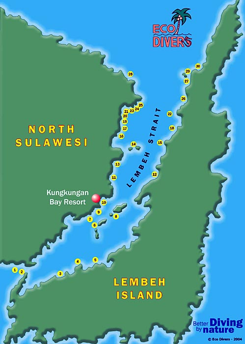 Map of Lembeh Strait Dive Sites, North Sulawesi, Indonesia