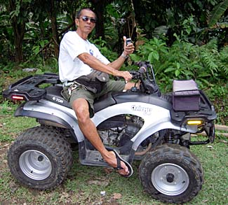 Vincente Vic Azurin strikes a pose on his ATV at Casaroro