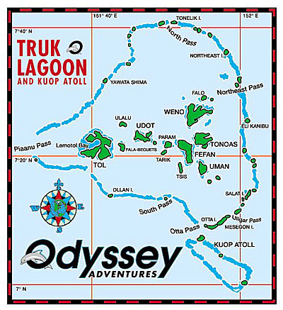 Map of Truk Lagoon courtesy of Odyssey Adventures