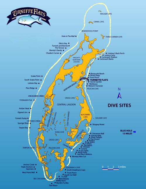Turneffe Flats Resort, Belize - Map of dive sites